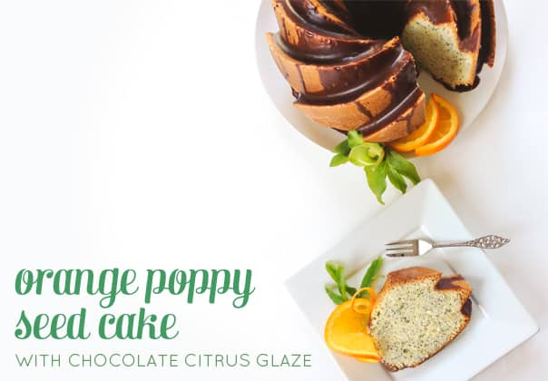 Orange Poppy Seed Cake with Chocolate Citrus Glaze — a stunning bundt cake for breakfast or dessert! (via feastandwest.com)