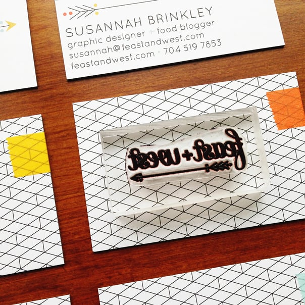 Washi Tape & Rubber Stamp Blog Business Cards DIY // Feast + West