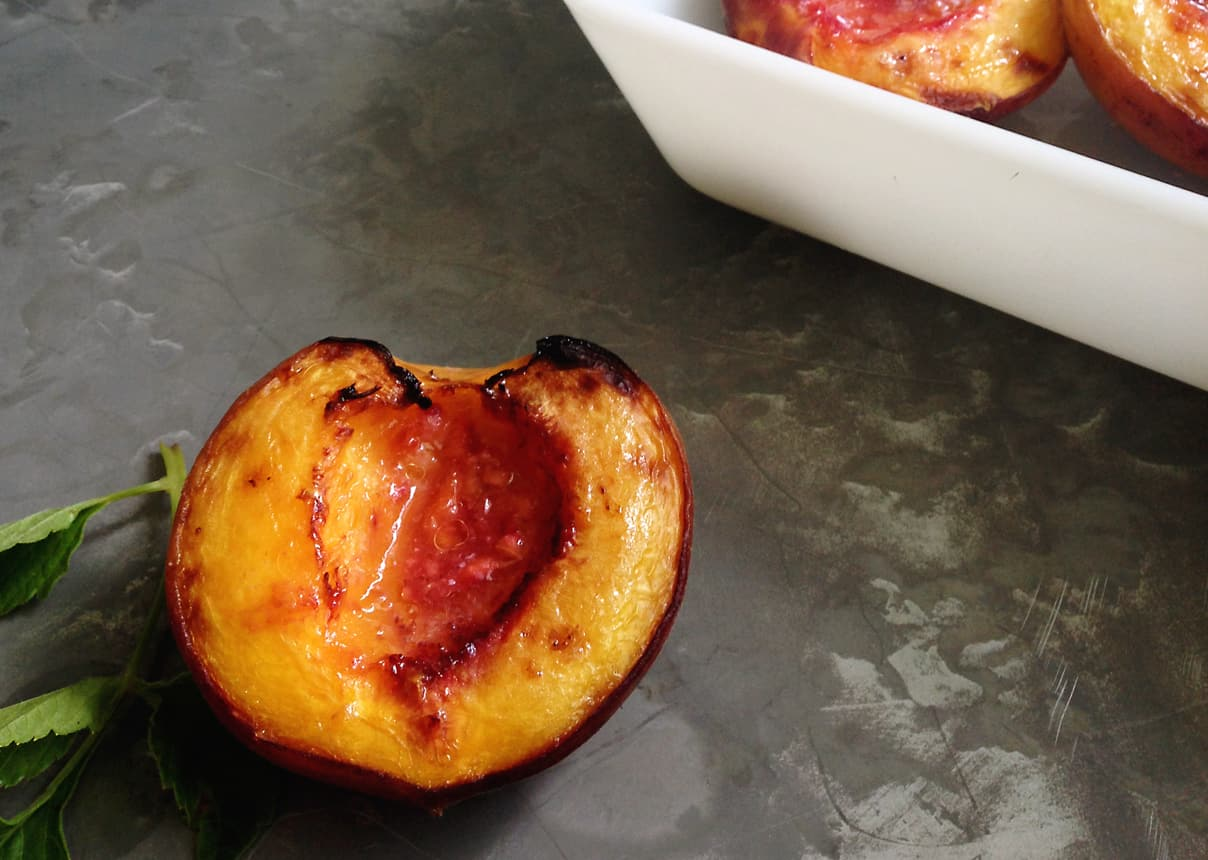 Roasted Peaches with Goat Cheese + Honey // Feast + West