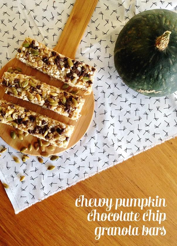 Chewy Pumpkin Chocolate Chip Granola Bar Recipe // Feast + West