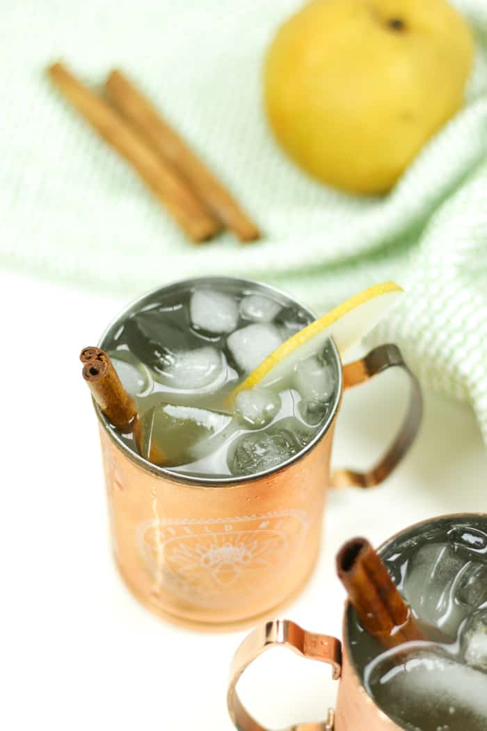 The Asian Pear Moscow Mule cocktail is tart and succulent. The ginger beer will warm you right up. Perfect for sipping all fall long, even for Thanksgiving!