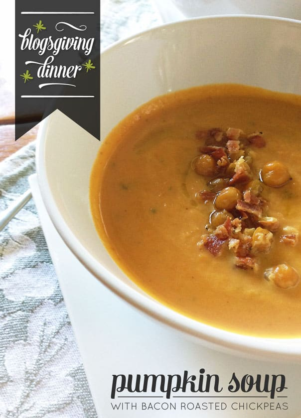 Pumpkin Soup with Roasted Chickpeas and Bacon // Feast + West