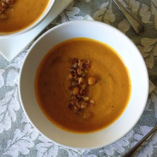 Pumpkin Soup with Bacon Roasted Chickpeas