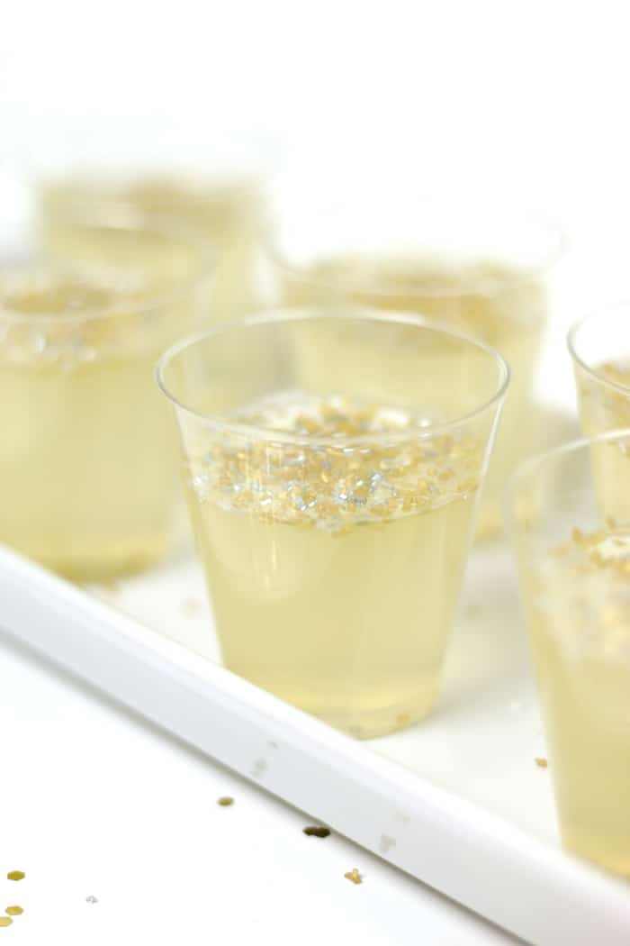 a closeup shot of a champagne jello shot