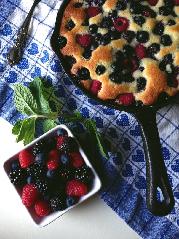 Fruit Skillet Cake from 'One Pot' cookbook from the Kitchens of Martha Stewart Living // Feast + West