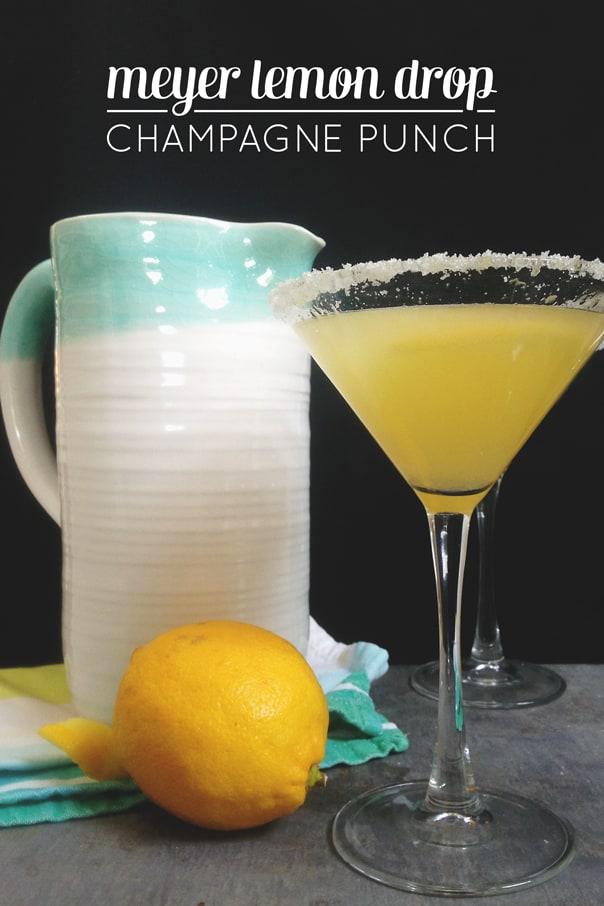Meyer Lemon Drop Champagne Punch // Feast + West