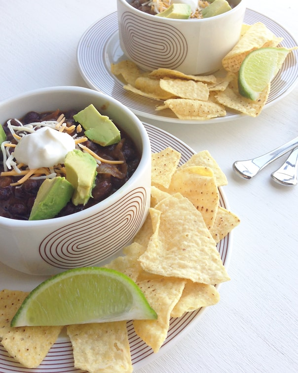 Spicy Vegetarian Black Bean Soup // Feast and West