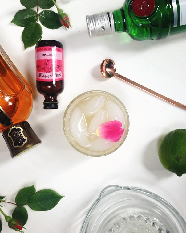 Elderflower Rose Gimlet, a refreshing floral cocktail // Feast + West