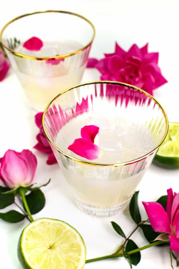 elderflower rose gimlet in a gold-rimmed stemless cocktail glass with pink garden roses and limes on a white background