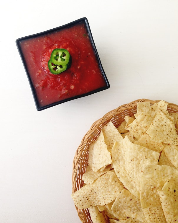 This Bloody Mary Salsa is a fun twist on the classic chip dip. // Feast + West