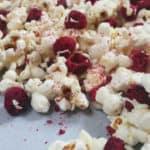White Chocolate Raspberry Cheesecake Popcorn // Feast + West