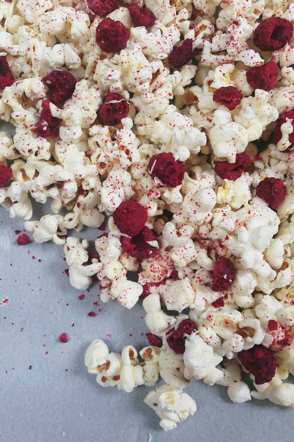 White Chocolate Raspberry Cheesecake Popcorn // Feast + West