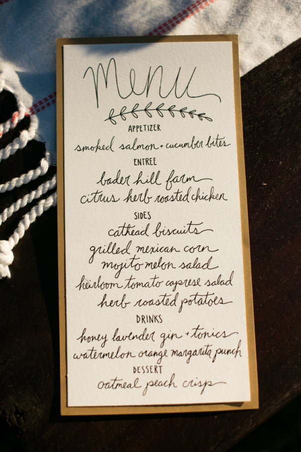 Hand-lettered menu for an End-of-Summer Supper // Feast + West