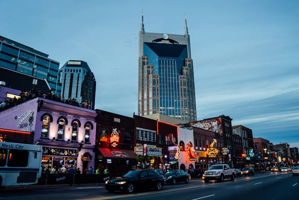 Broadway at night | Hidden Gems: Nashville Travel Guide // feastandwest.com