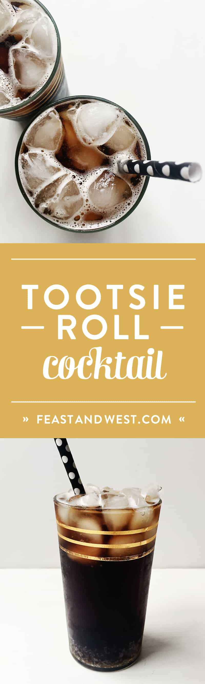 The Tootsie Roll Cocktail is a black candy cocktail fit for Halloween. Even though it's spooky and dark, it is sure to satisfy any sweet tooth! (via feastandwest.com)