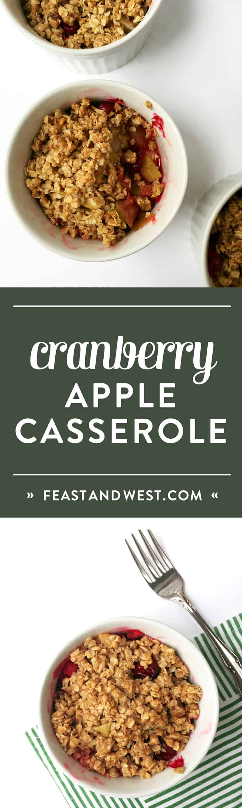 Mini Cranberry Apple Casseroles are a sweet and tart side for your Thanksgiving dinner or Christmas dinner. It's like baked apples and cranberry sauce all in one. (via feastandwest.com)