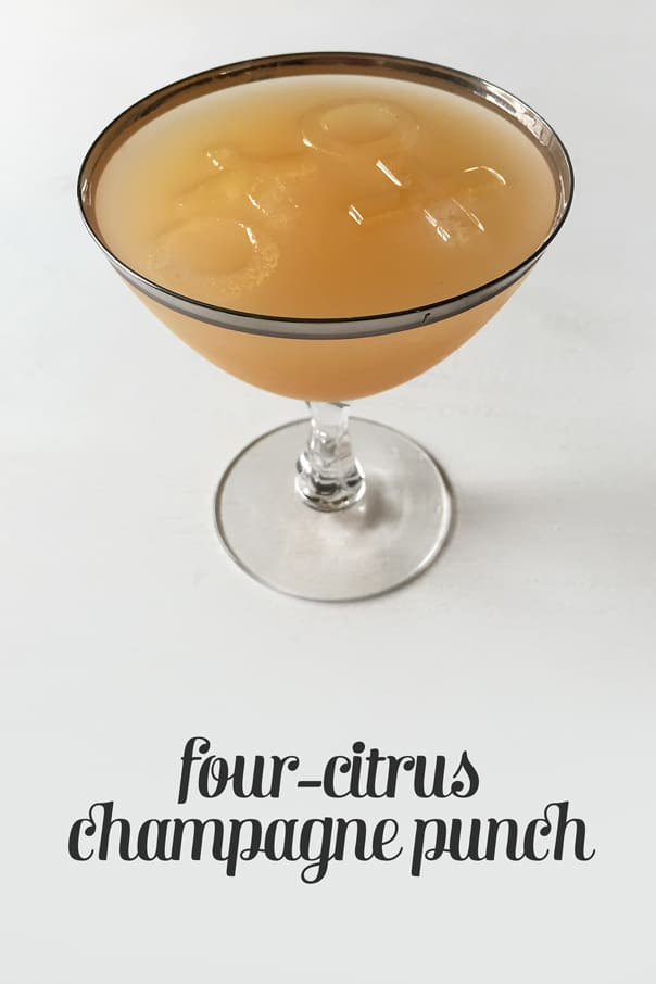 Four-Citrus Champagne Punch, the perfect Galentine's brunch cocktail. // Feast + West