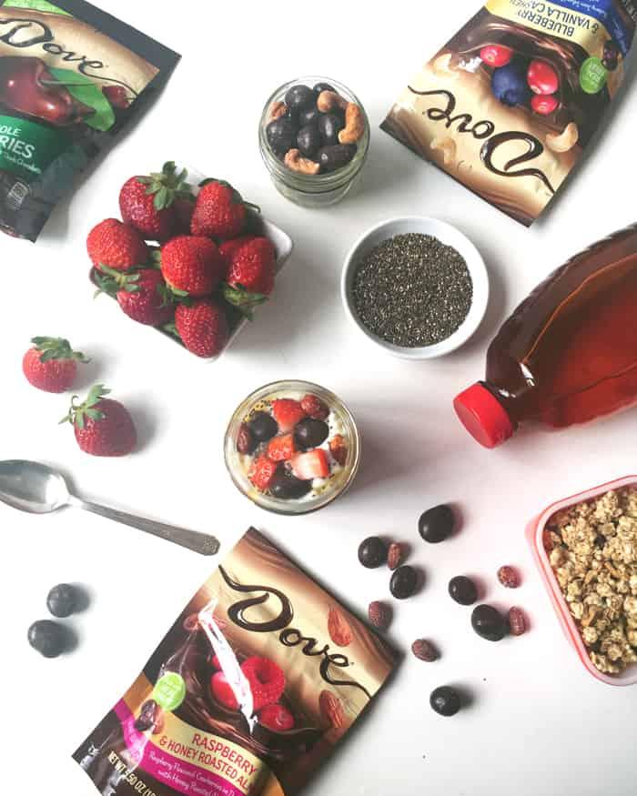 Dark Chocolate Berry Yogurt Parfaits are an indulgent but better for you breakfast. (via feastandwest.com)