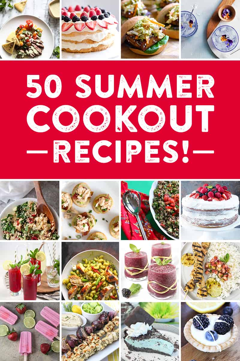 50 recipes for the perfect summer get-together! Whether you're planning a barbecue, picnic, or outdoor party, check out everything from appetizer recipes, entree recipes, cocktail recipes, dessert recipes, side dish recipes and more to go with your BBQ! #greatbloggerBBQ