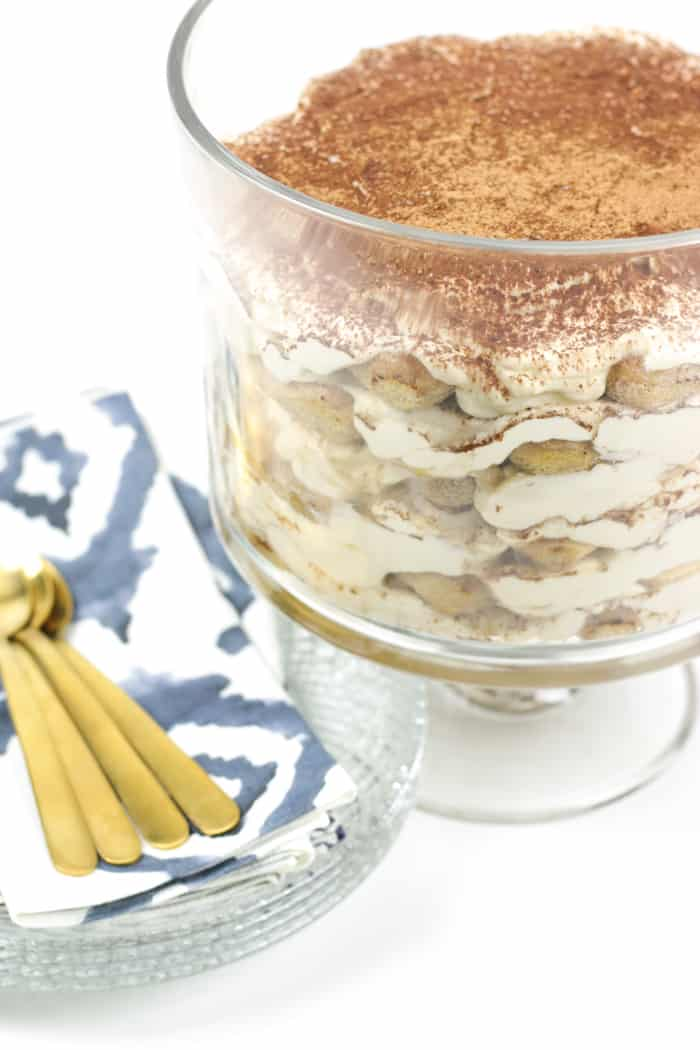 This sumptuous Tiramisu Trifle makes a statement for any party! Layers upon layers of espresso-soaked Italian ladyfinger cookies and tiramisu cream make for a show-stopping dessert. (via feastandwest.com)
