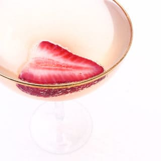 Strawberry Rhubarb Champagne Cocktail