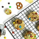 Loaded Chocolate Chip Cookies are filled with everything but the kitchen sink! Chocolate chips, candies, nuts, pretzels and potato chips turn the classic cookie into a sweet-and-salty treat. (via feastandwest.com)