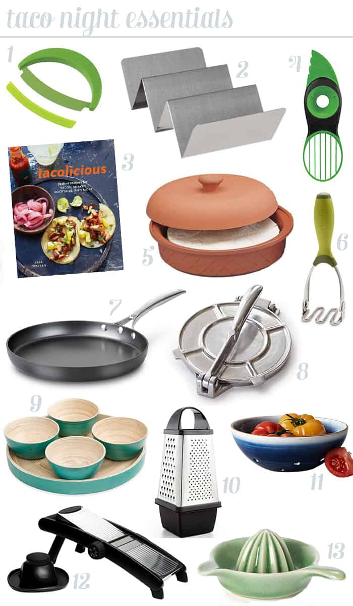 Taco Night Essentials — Everything you need to make an impression on taco night. Impress your friends with fancier tacos and fajitas! (via feastandwest.com)