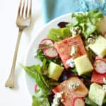 Watermelon Blue Cheese Salad with Creamy Lemon Balsamic Vinaigrette