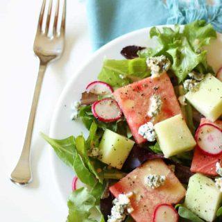 Watermelon Blue Cheese Salad with Creamy Lemon Balsamic Vinaigrette