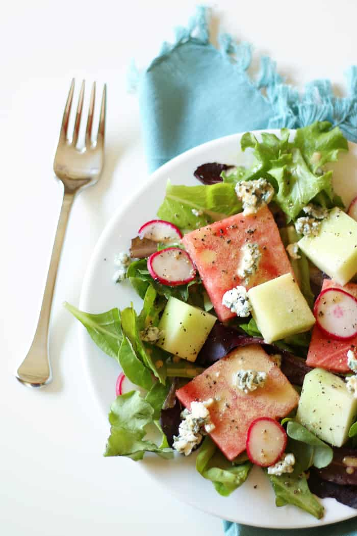 Watermelon Blue Cheese Salad with Creamy Lemon Balsamic Vinaigrette — a lovely new way to enjoy summer melons. (via feastandwest.com)