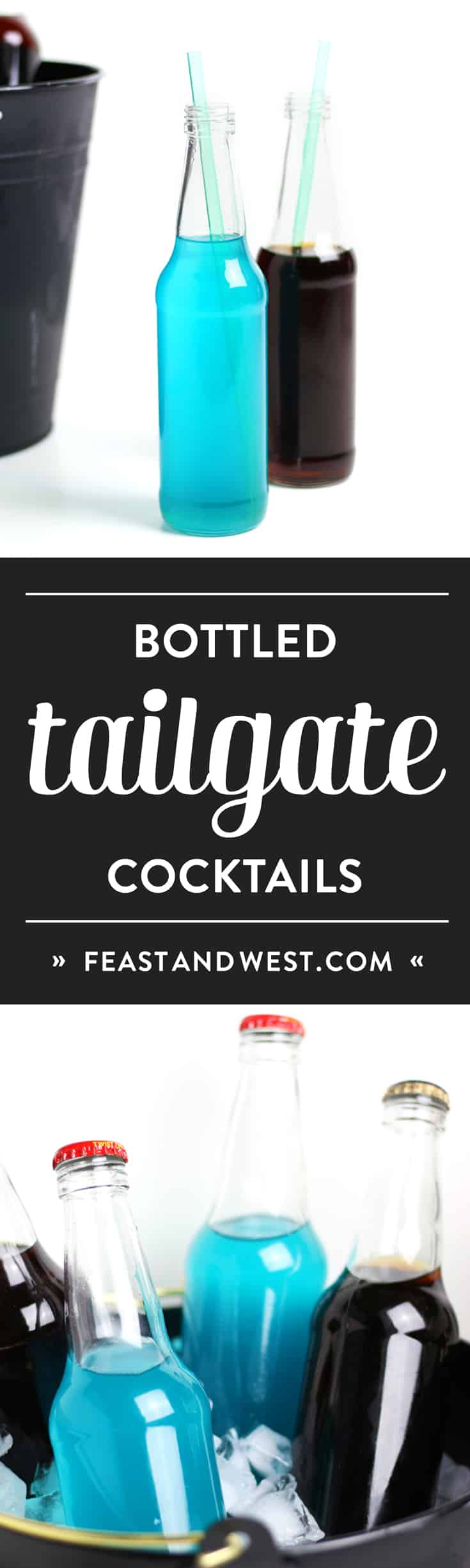 Ever wanted to take cocktails to a tailgate? Make them ahead of time! These black and blue Bottled Tailgate Cocktails are pre-mixed drinks you can pack in a cooler for your next football pre-game party. (via feastandwest.com)