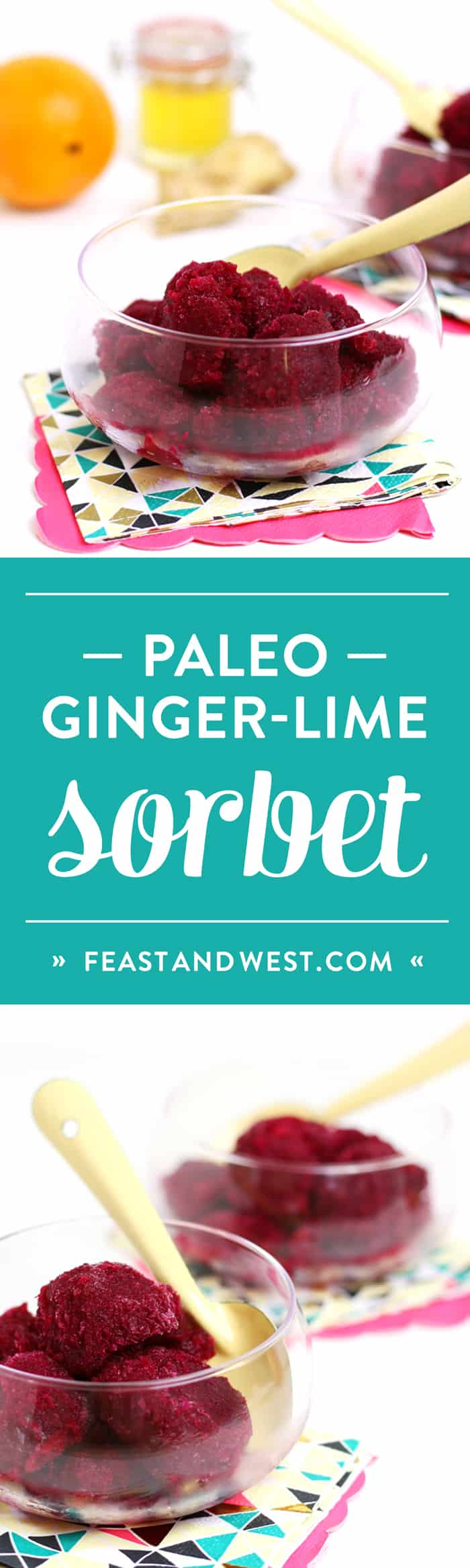 Paleo Ginger-Beet Sorbet — with hints of spicy ginger and zesty orange — is the dairy-free, Paleo-friendly dessert of your dreams. (via feastandwest.com)