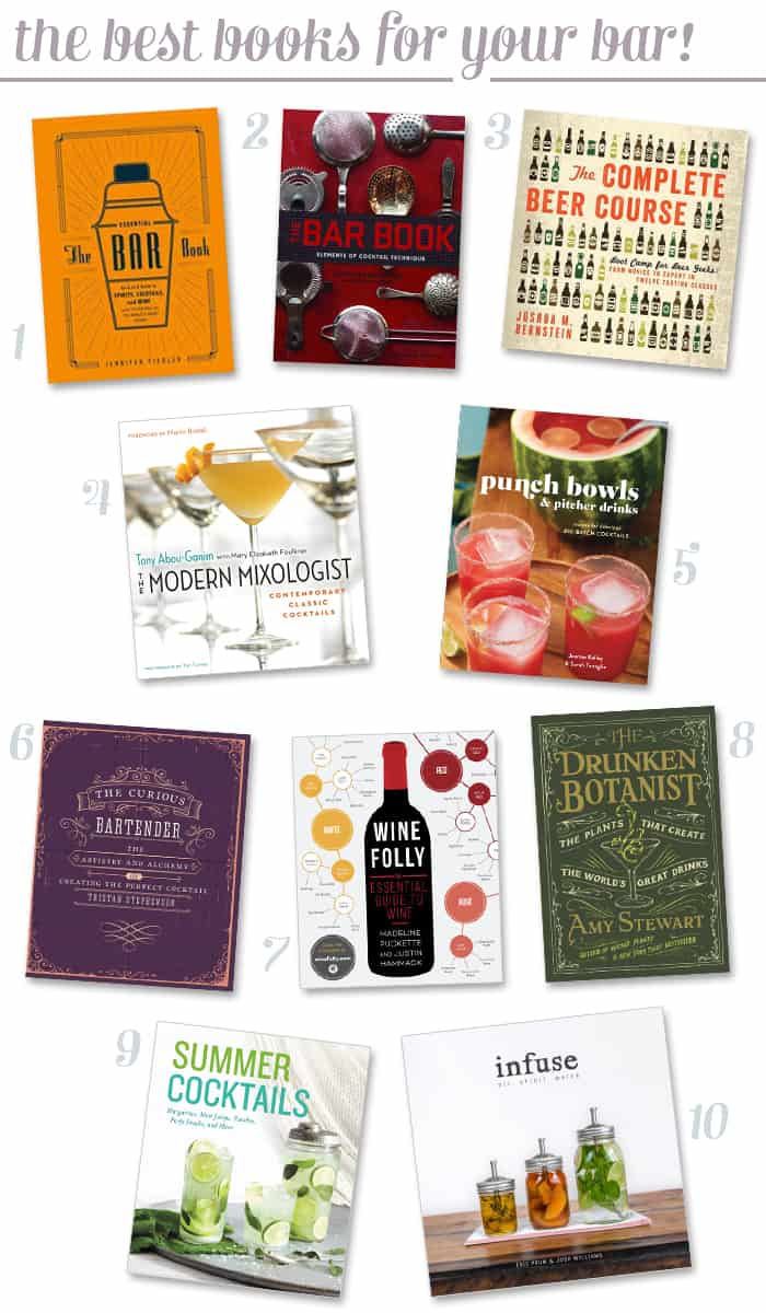 The 10 best home bartending books! These are my favorite cocktail cookbooks for both decorating your bar cart and for learning more about mixology! You need all of these drink books for your bookshelf! (via feastandwest.com)