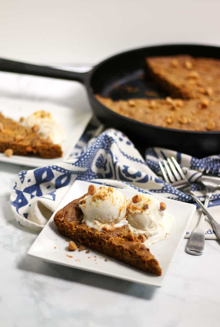 This Butterscotch Skillet Cookie is a quick and easy chocolate chip cookie dessert. Make it fresh and hot in your well-seasoned cast-iron skillet so you can have cookies for a crowd anytime I like. (via feastandwest.com)