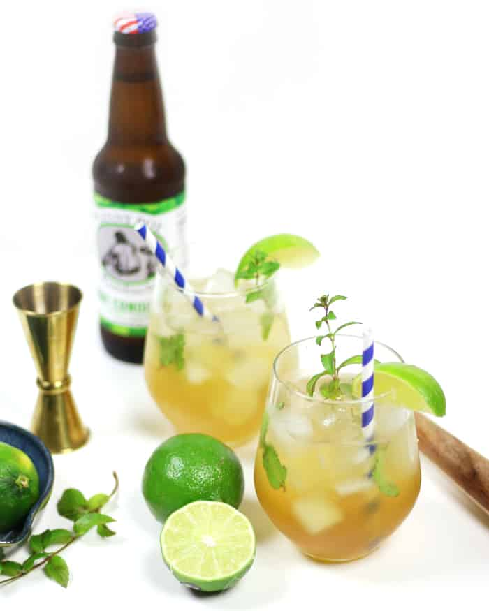 This Kombucha Mojito is a minty and slightly sour version of the classic sipper. Made with all-natural fermented tea, this cocktail packs a real tangy punch. (via feastandwest.com)