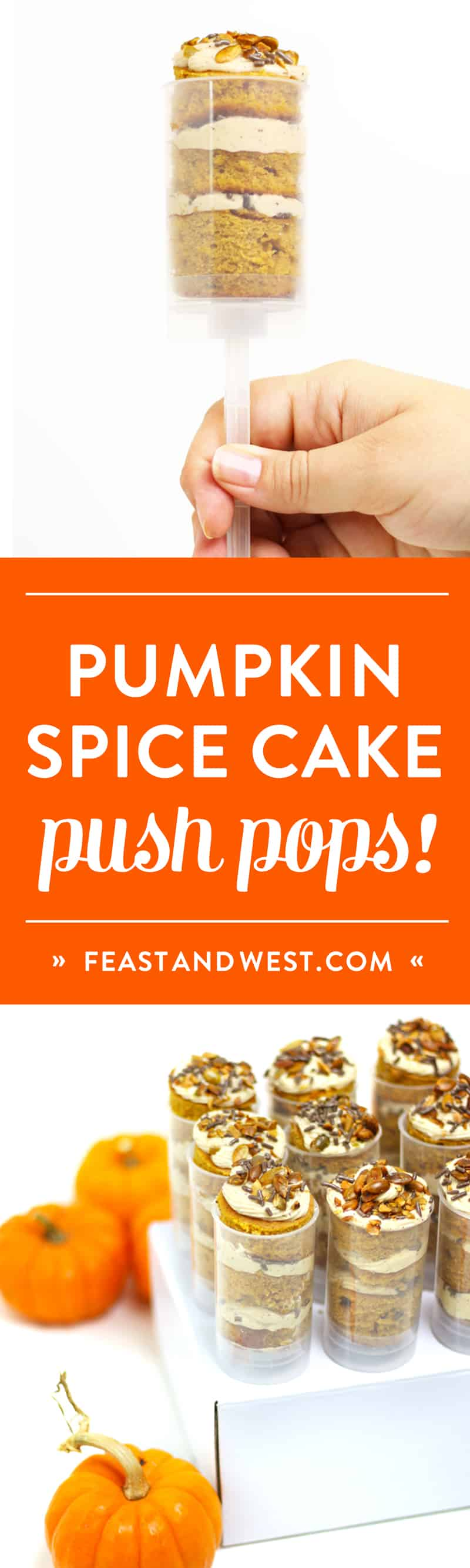 Feel like a kid again with Pumpkin Spice Cake Push Pops! These fun, interactive cupcake pops feature a decadent brown butter bourbon pumpkin cream cheese frosting. (via feastandwest.com)