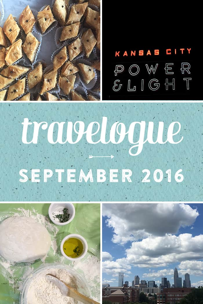 The September Travelogue from Feast + West. including explorations around Charlotte, a trip to the Kansas City, music, baklava and cocktails. Stop by the blog today to see the full list of things I did, ate, drank and saw in September 2016, plus a few things on my wishlist. (via feastandwest.com)