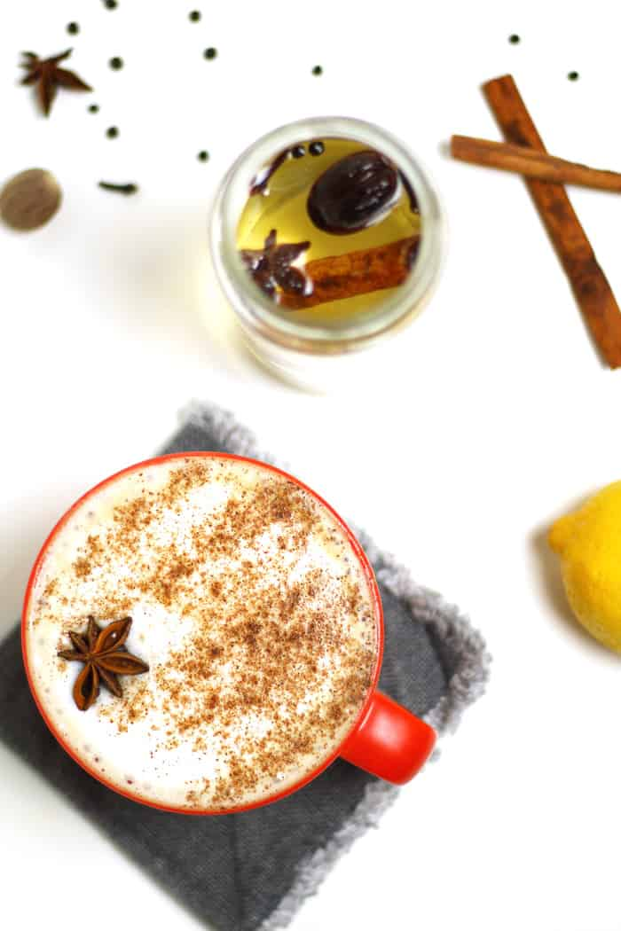 A warm and inviting Autumn Spice Cafe Latte, made without pumpkin. Cinnamon, star anise, lemon, nutmeg, cloves and peppercorns flavor an easy simple syrup that you can use in coffee and espresso drinks. (via feastandwest.com)