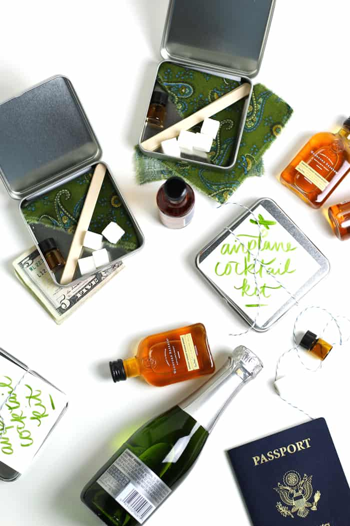 DIY Airplane Cocktail Kits make a perfect holiday gift for your jet-setting friends. Learn how to make each versatile kit, which can make two kinds of cocktails — an easy Old-Fashioned or a fancy Champagne Cocktail.