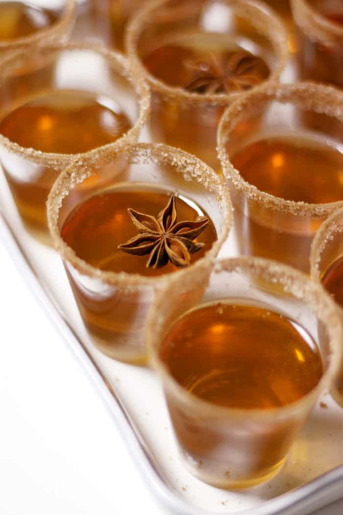 Apple Cider Jell-O Shots are not your average Jell-O shot, and they will be the star of your holiday party. Infuse bourbon with cinnamon and combine with Martinelli's Apple Cider, sugar and gelatin to make this festive holiday treat that's fun for the whole (21+!) family. (via feastandwest.com)