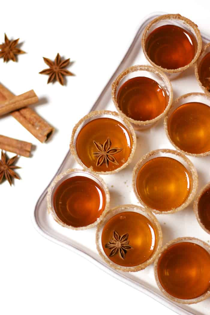 Gourmet Apple Cider Bourbon Jell-O Shots are not your average Jell-O shot, and they will be the star of your holiday party. Infuse bourbon with cinnamon and combine with Martinelli's Apple Cider, sugar and gelatin to make this festive holiday treat that's fun for the whole (21+!) family. (via feastandwest.com)