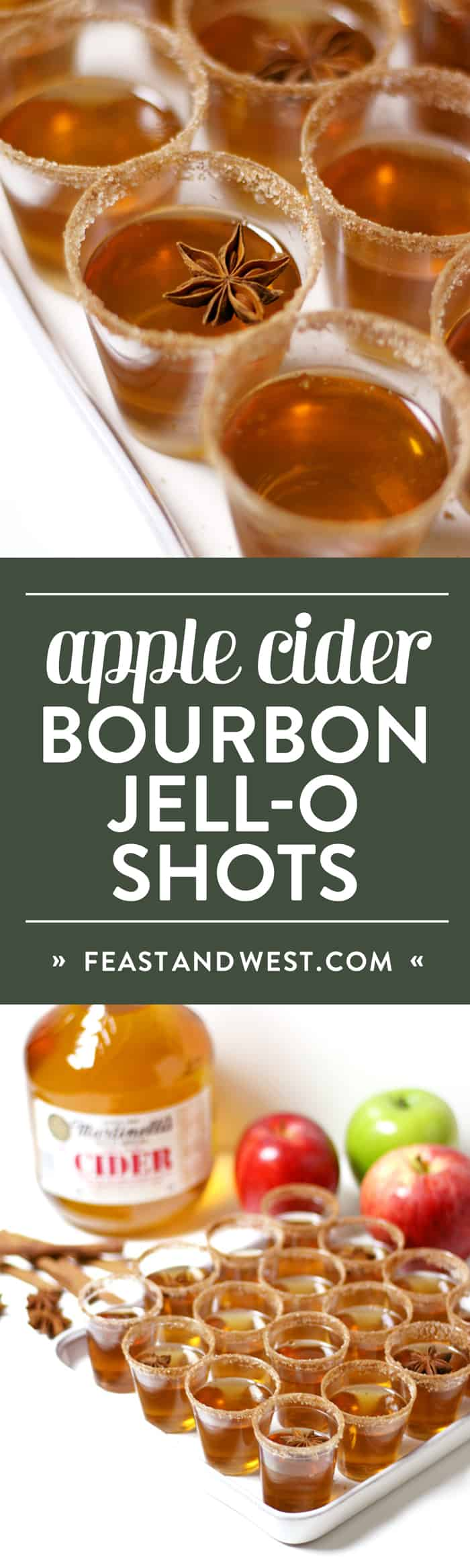 Apple Cider = Jell-O Shots are not your average Jell-O shot, and they will be the star of your holiday party. Infuse bourbon with cinnamon and combine with Martinelli's Apple Cider, sugar and gelatin to make this festive holiday treat that's fun for the whole (21+!) family. (via feastandwest.com)