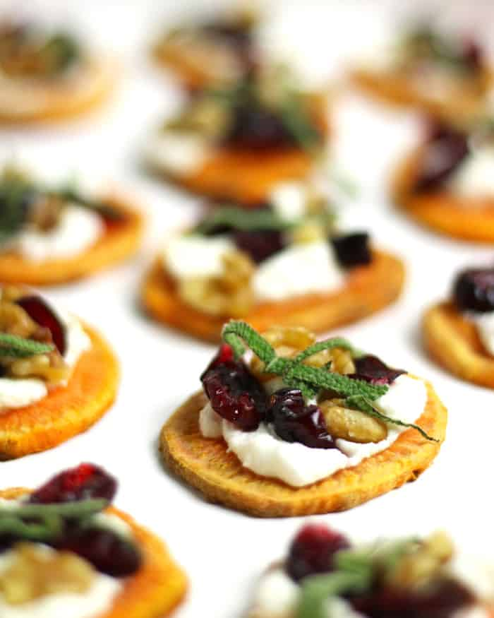 Make these Holiday Sweet Potato Toast Bites topped with goat cheese, dried cranberries, walnuts and fresh sage! They are a delicious, gluten-free and Paleo-friendly party appetizer your Thanksgiving and Christmas guests will devour. (via feastandwest.com)