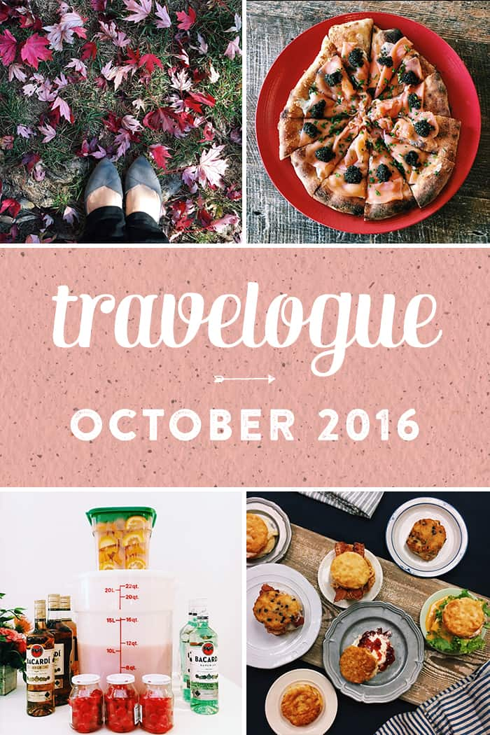 The September Travelogue from Feast + West, including explorations around Charlotte, a Bojangles biscuit class, music, tv, meeting Wolfgang Puck, and making cocktails for 100 people. Stop by the blog today to see the full list of things I did, ate, drank and saw in October 2016, plus a few things on my wishlist. (via feastandwest.com)