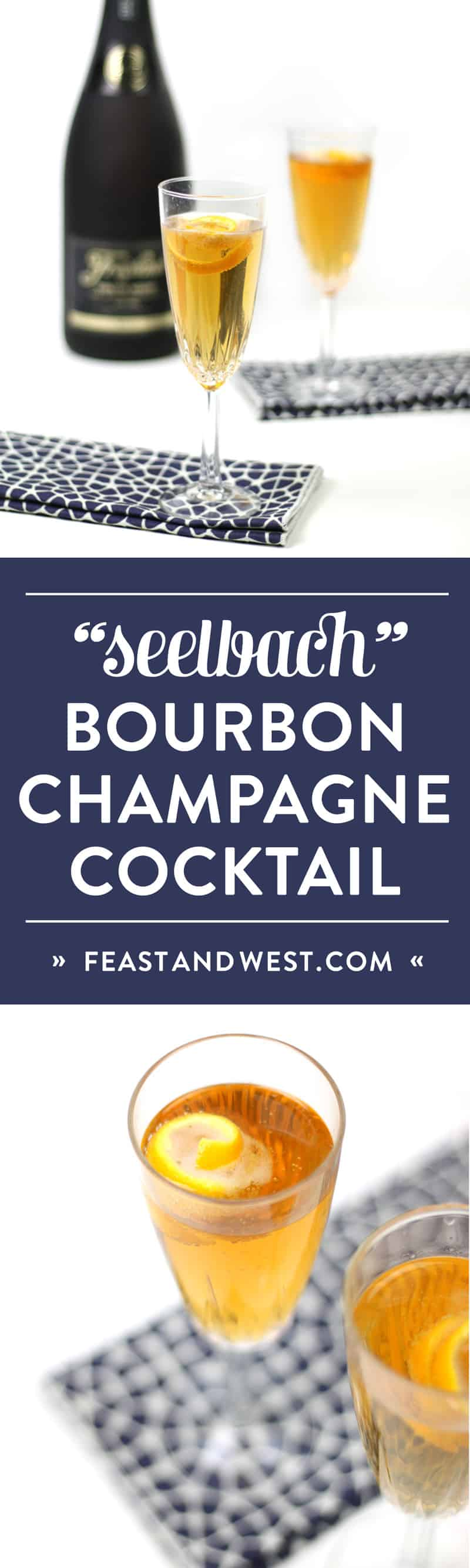 The storied Seelbach Bourbon Champagne Cocktail is a glitzy cocktail worthy of celebration! The marriage of bourbon whiskey, champagne, orange and cocktail bitters is a festive way to toast both the holidays and the new year. Cheers! (via feastandwest.com)