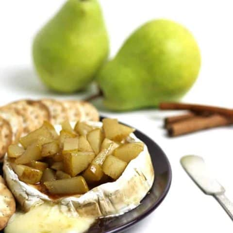 Caramelized Pear Baked Brie