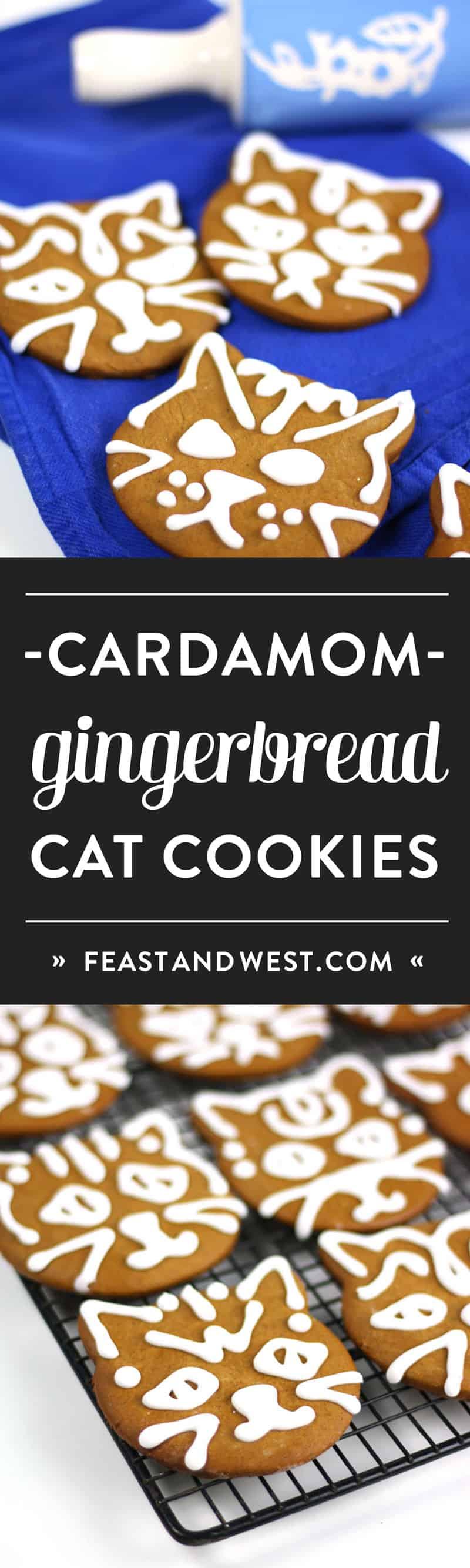 Cardamom Ginger Cat Gingerbread Cookies are the best and quirkiest way to celebrate the holidays. Bursting with baking spices, anyone who bites into these Christmas cookies will love all the flavor and chewy texture. The cat cookie cutter is a cute and untraditional touch, and royal icing makes them official. #sweetestseasoncookies (via feastandwest.com)