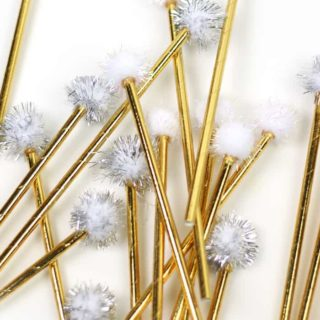 DIY Pom-Pom Drink Stirrers