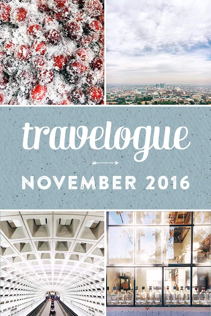 The November Travelogue from Feast + West, including explorations in Richmond, Charlotte, Birmingham and Washington DC, music, tv, Christmas bars and Thanksgiving dinners. Stop by the blog today to see the full list of things I did, ate, drank and saw in October 2016, plus a few things on my wishlist. (via feastandwest.com)
