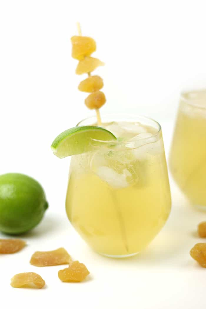The Bourbon Ginger Shrub Cocktail is a sweet and spicy drink. Made with a homemade ginger 'drinking vinegar,' this sparkling whiskey, lime and ginger libation is a delightful anytime sipper. (via feastandwest.com)
